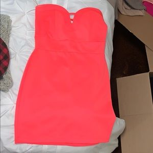 Charlotte Russe Dresses - Strapless neon pink mini dress